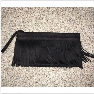Express Black Fringe Clutch Purse Zip NWOT